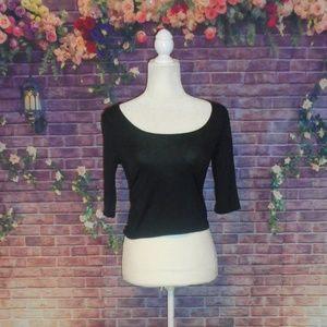 American Rag Black 3/4 Sleeve Soft Crop Top